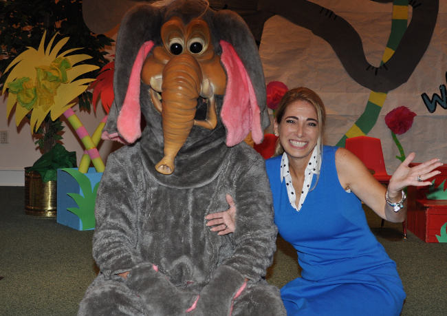Tracey Edenfield, teacher of the deaf at Sound Start, poses with Horton of Horton Hears a Who!.
